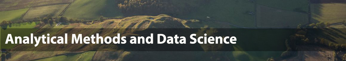 Aerial photo of a hillfort and overlaid text 'Analytical methods and data science'