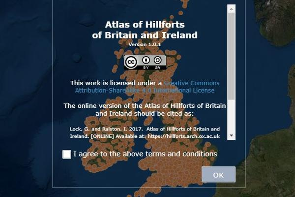 Screenshot of the Atlas of Hillforts database home page